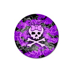 Purple Girly Skull Magnet 3  (round) by ArtistRoseanneJones