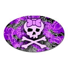 Purple Girly Skull Magnet (oval) by ArtistRoseanneJones