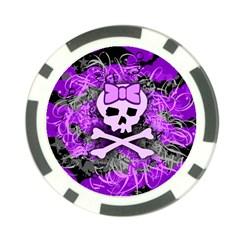 Purple Girly Skull Poker Chip