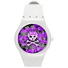 Purple Girly Skull Plastic Sport Watch (medium) by ArtistRoseanneJones