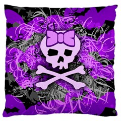 Purple Girly Skull Large Cushion Case (two Sided)  by ArtistRoseanneJones