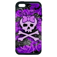 Purple Girly Skull Apple Iphone 5 Hardshell Case (pc+silicone)