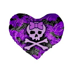 Purple Girly Skull Standard 16  Premium Heart Shape Cushion  by ArtistRoseanneJones