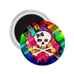 Rainbow Plaid Skull 2 25  Button Magnet by ArtistRoseanneJones