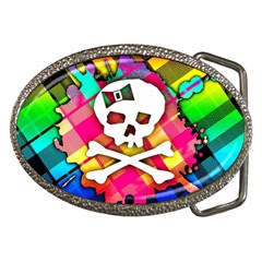 Rainbow Plaid Skull Belt Buckle (oval) by ArtistRoseanneJones