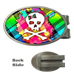 Rainbow Plaid Skull Money Clip (oval) by ArtistRoseanneJones