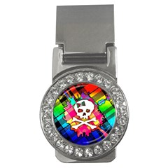 Rainbow Plaid Skull Money Clip (cz)