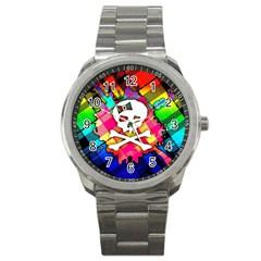 Rainbow Plaid Skull Sport Metal Watch by ArtistRoseanneJones