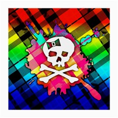 Rainbow Plaid Skull Glasses Cloth (medium) by ArtistRoseanneJones