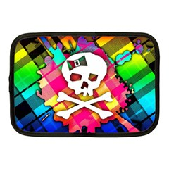 Rainbow Plaid Skull Netbook Sleeve (medium) by ArtistRoseanneJones