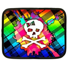 Rainbow Plaid Skull Netbook Sleeve (large)