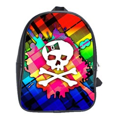 Rainbow Plaid Skull School Bag (large) by ArtistRoseanneJones