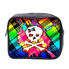 Rainbow Plaid Skull Mini Travel Toiletry Bag (two Sides) by ArtistRoseanneJones