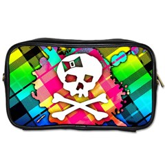 Rainbow Plaid Skull Travel Toiletry Bag (two Sides)
