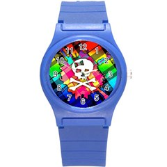 Rainbow Plaid Skull Plastic Sport Watch (small)