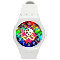 Rainbow Plaid Skull Plastic Sport Watch (medium) by ArtistRoseanneJones