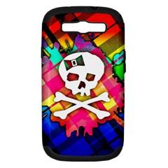 Rainbow Plaid Skull Samsung Galaxy S Iii Hardshell Case (pc+silicone)