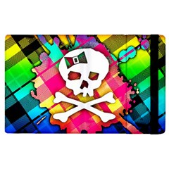 Rainbow Plaid Skull Apple Ipad 3/4 Flip Case by ArtistRoseanneJones