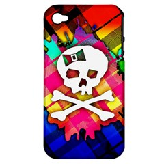 Rainbow Plaid Skull Apple Iphone 4/4s Hardshell Case (pc+silicone)