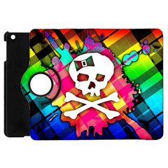 Rainbow Plaid Skull Apple Ipad Mini Flip 360 Case by ArtistRoseanneJones