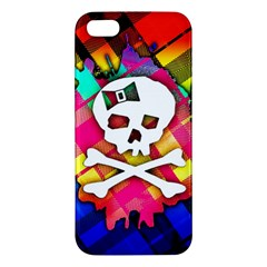 Rainbow Plaid Skull Iphone 5s Premium Hardshell Case by ArtistRoseanneJones