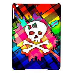 Rainbow Plaid Skull Apple Ipad Air Hardshell Case by ArtistRoseanneJones