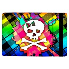 Rainbow Plaid Skull Apple Ipad Air Flip Case by ArtistRoseanneJones
