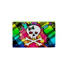 Rainbow Plaid Skull Cosmetic Bag (xs)