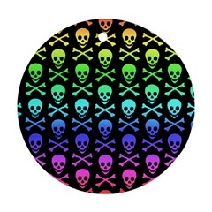 Rainbow Skull And Crossbones Pattern Round Ornament by ArtistRoseanneJones