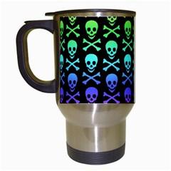 Rainbow Skull And Crossbones Pattern Travel Mug (white) by ArtistRoseanneJones