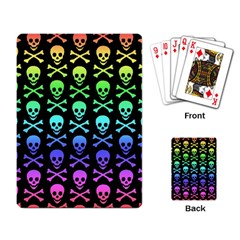 Rainbow Skull and Crossbones Pattern Playing Cards Single Design by ArtistRoseanneJones