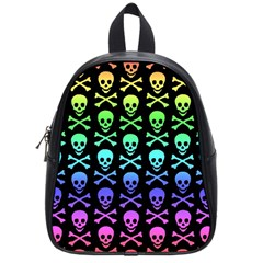 Rainbow Skull And Crossbones Pattern School Bag (small) by ArtistRoseanneJones