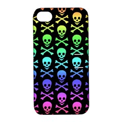 Rainbow Skull And Crossbones Pattern Apple Iphone 4/4s Hardshell Case With Stand by ArtistRoseanneJones