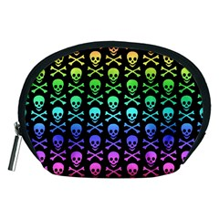 Rainbow Skull And Crossbones Pattern Accessory Pouch (medium) by ArtistRoseanneJones