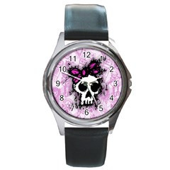 Sketched Skull Princess Round Leather Watch (silver Rim) by ArtistRoseanneJones