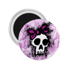 Sketched Skull Princess 2 25  Button Magnet by ArtistRoseanneJones