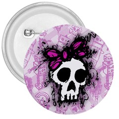 Sketched Skull Princess 3  Button by ArtistRoseanneJones