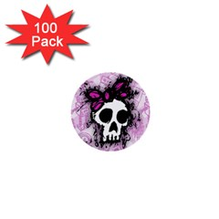Sketched Skull Princess 1  Mini Button (100 Pack) by ArtistRoseanneJones