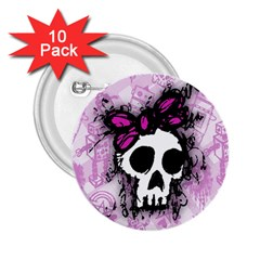 Sketched Skull Princess 2 25  Button (10 Pack) by ArtistRoseanneJones