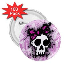 Sketched Skull Princess 2 25  Button (100 Pack) by ArtistRoseanneJones
