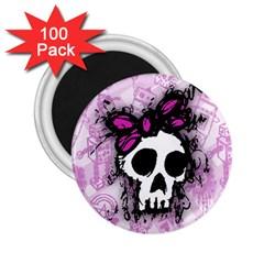 Sketched Skull Princess 2.25  Button Magnet (100 pack)