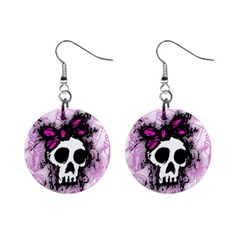 Sketched Skull Princess Mini Button Earrings by ArtistRoseanneJones
