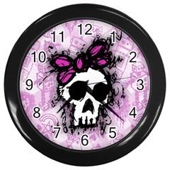 Sketched Skull Princess Wall Clock (Black)