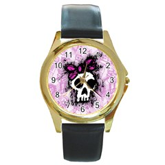 Sketched Skull Princess Round Leather Watch (gold Rim)  by ArtistRoseanneJones