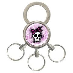 Sketched Skull Princess 3-Ring Key Chain