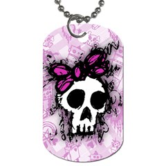 Sketched Skull Princess Dog Tag (two Sided)  by ArtistRoseanneJones