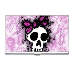 Sketched Skull Princess Business Card Holder