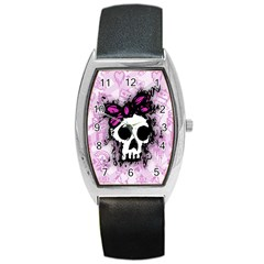 Sketched Skull Princess Tonneau Leather Watch