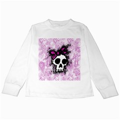 Sketched Skull Princess Kids Long Sleeve T Shirt by ArtistRoseanneJones