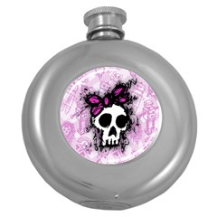 Sketched Skull Princess Hip Flask (round) by ArtistRoseanneJones